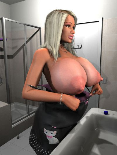 Untamed 3d fairy beauty exposing her enormous boobs in the shower