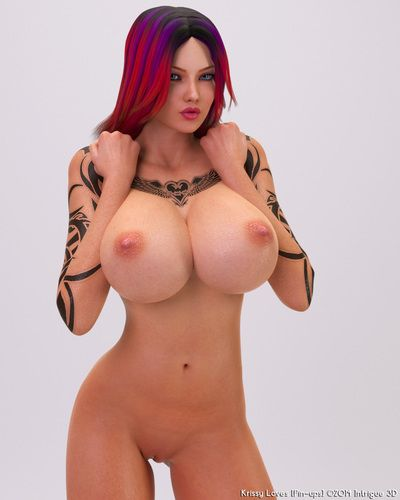 Hawt naked hotty with tattoo and enormous scoops looks hot