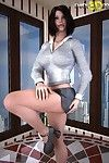 Surprising hot brunette spreads her legs