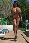 Tanning 3d babe uses magic sunscreen to enlarge her mambos