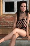 Brunette 3d hottie in fishnet bodysuit shows remarkable tits