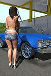 Sticky 3d queen at public carwash flashing major milk cans