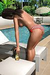 Topless 3d girl grows a weighty rack by the pool
