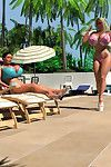 Pornstar 3d untamed breasty blonde in bikini sunbathing outdoors