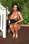Provokingly covered boobsy 3d hottie posing outdoors