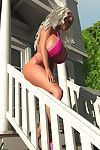 Hot 3d blond in bikini shows her tough brassiere busting hooters