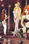 Very sweaty winx girls perform in a disrobe club
