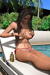 Topless 3d caricature girl grows a giant rack