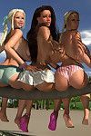 Triple 3d hotties with massive knockers sunbathing as was born on the beach