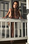 Enormous breasted 3d babe exposing her melons outdoors