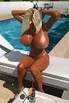 Blonde 3d toon with huge jugs going for a score by the pool