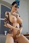 Futanari queen strokes her wang awaiting the jizz burst