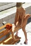 Perspired blonde with vast dong bonks untamed redhead on the bench