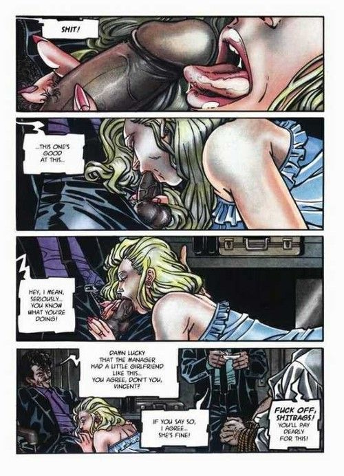 Porno comix with blonde exposed to stick