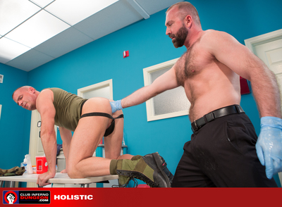 Christian Mitchell demands that Dr. Josh West examine his burning hole immediately. The hunky army man gets on all fours and spreads his ass cheeks for Dr. West who decides to cool down his overheated patient by inserting ice cubes up his ass. A more prob
