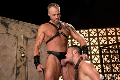 Slim dark haired pup, Mike De Marko is lead straight to his master Dallas Steele