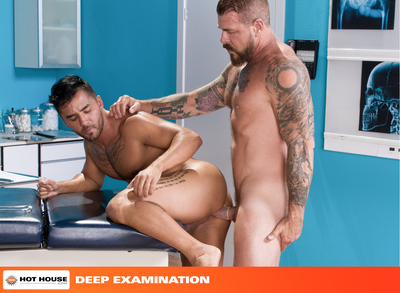 Gymnast-bodied, Brazilian stud Bruno Bernal has come to see Dr. Rocco Steele for a check-up. Bruno is concerned that he cannot take his boyfriends big dick so Rocco decides to put Bruno