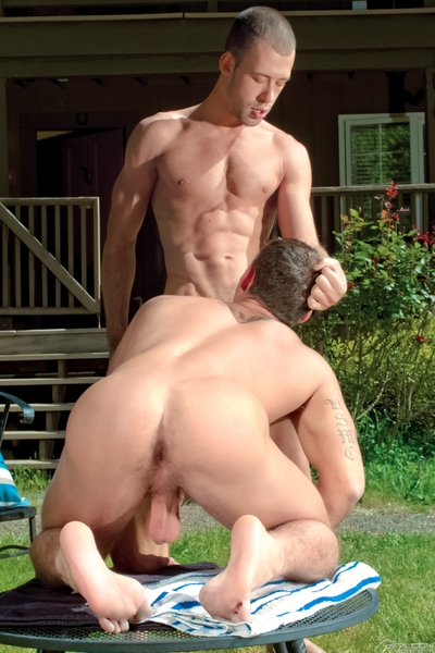Brandon Jones invites his muscle-bound boyfriend, Cooper Reed, to his class reunion because he wants to show him off. Cooper agrees ... as long as he gets to fuck Brandon the next morning. Brandon is out in the yard when Cooper exacts payment by dropping