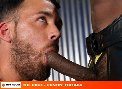 Hung stud XL sits back and jacks his thick cock while eager and sexy Logan Moore watches in amazement from a distance. XL licks his lips as he gropes his dick and shoots Logan a look inviting him to come have a taste. Logan approaches XL with an open mout