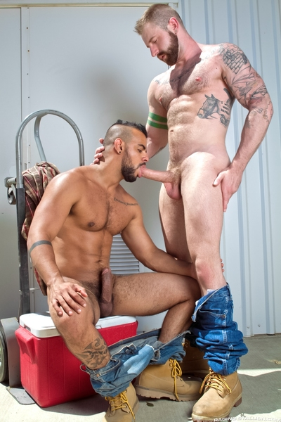 Real-life boyfriends, Aleks Buldocek, a thick, tattooed, hairy stud, and Tony Orion, a bearded, fiery Latino, are making out heavily in a loading zone behind building in the afternoon sun. Aleks gets on his knees to taste Tony