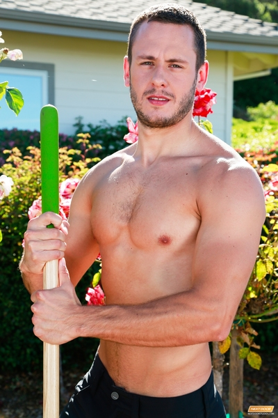 As groundskeeper, Brenner Bolton has some talented hands. Raking and trimming on a clammy summer day, Brenner loses his shirt as a secret adorer watches from the house. Making his way out to the garden, Connor keeps his eyes locked on an unsuspecting Bren