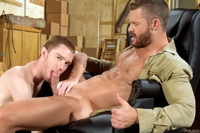Landon Conrad is sporting a beard, and this chab kicks in the past in his leather chair. Hot, infant ginger Seamus O
