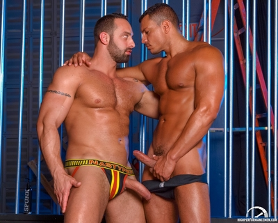 High Performance Fellows is pleased to bring together twofold powerhouse stallions Angelo Marconi and Fabio Stallone in WAREHOUSE FUCK.  Angelo and Fabio begin with kissing and groping per other until there rough knobs cannot be restrained by their jock-s