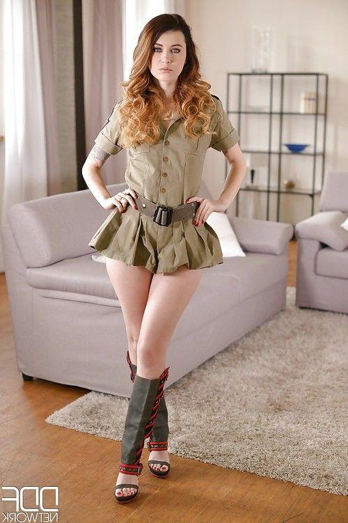 Military uniform attired babe Misha Cross undressing to spread smooth vagina