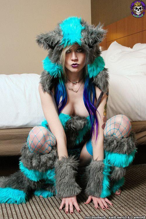 Adorable miniscule raver kitty girl in enjoyment fur