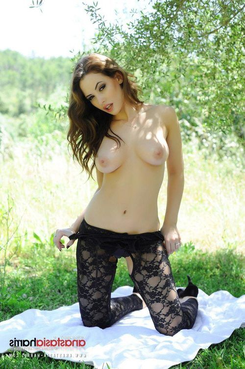 Sexy Black Lingerie Outdoors