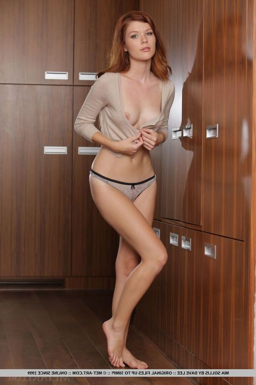 Redhead European glamour babe Mia Sollis sliding underclothing over superior amateur ass