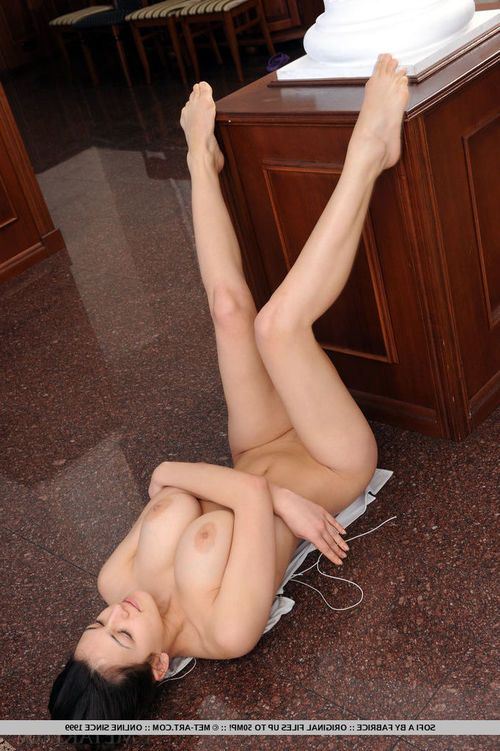 Acrobatic juvenile girl Sofi A touting large juggs with legs wide open