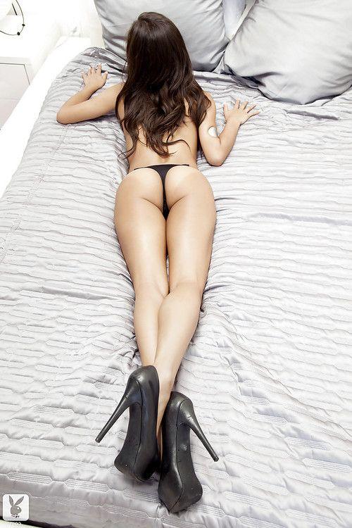 Stunning brunette babe Sarah Marie slipping off her black lingerie