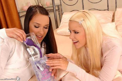 Lolita looking lesbians toying wild