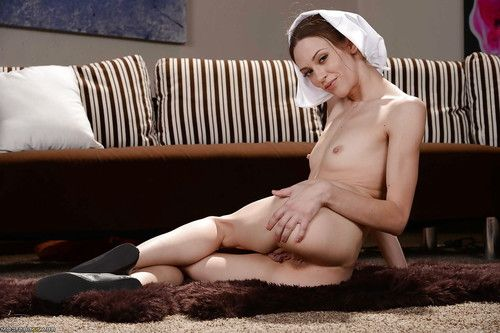 Teenage nun Alexa Nova flashing smooth head upskirt slit and small tits
