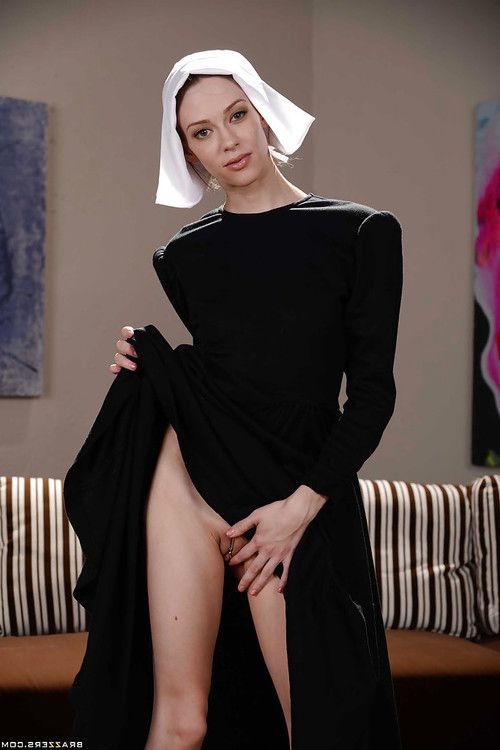 Teenage nun Alexa Nova flashing smooth head upskirt slit and small tits