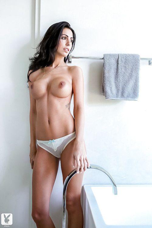 Admirable brunette hair Ashlee Lynn slipping off her lacy lingerie