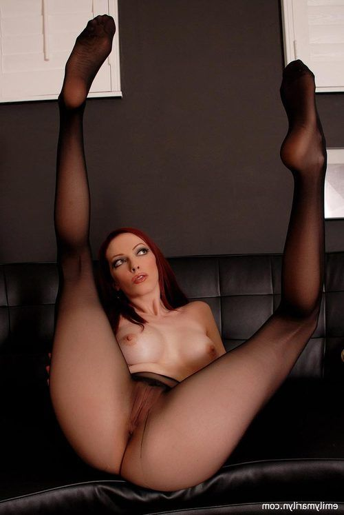 Emily Marilyn tease in seamless sheer black pipe