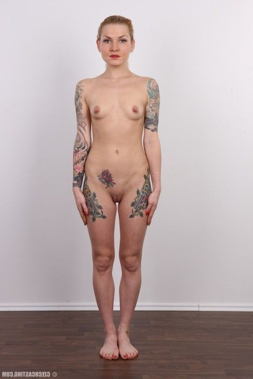 Tattooed golden-haired in casting scene