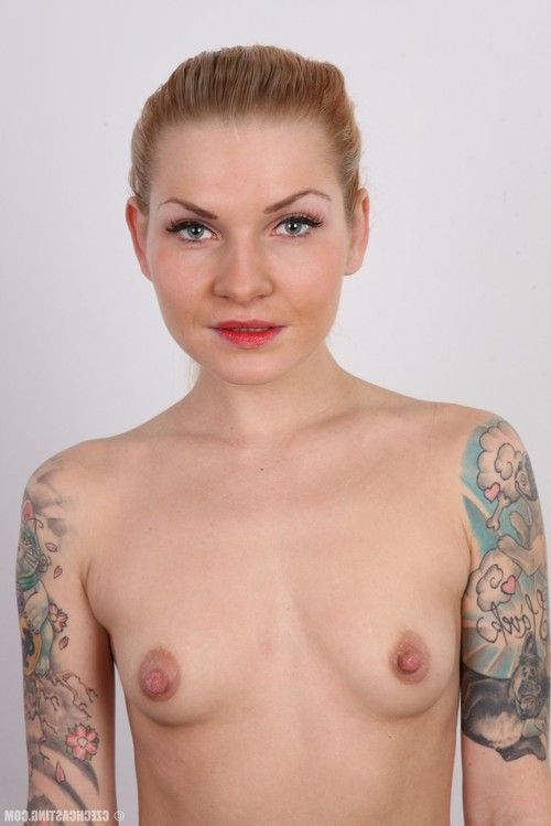Tattooed golden-haired in casting scene