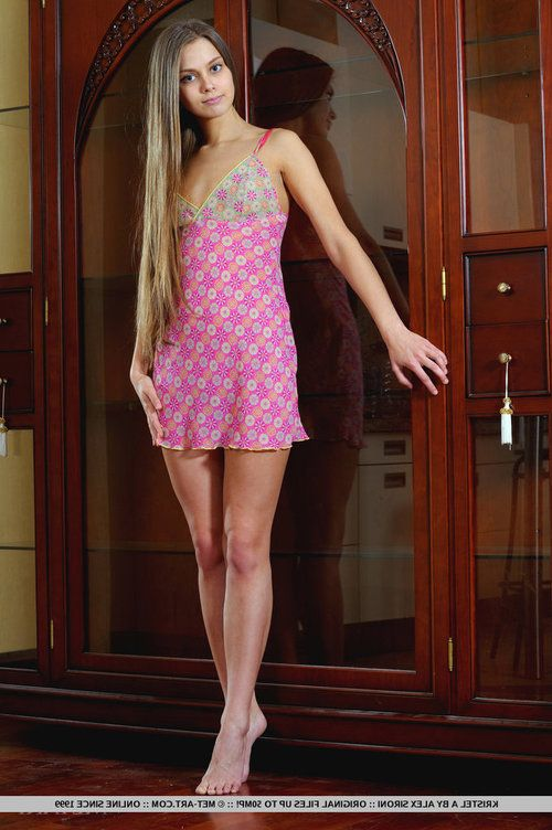 Tiny titted Kristel A in short dress & stripped feet, strips to show twat