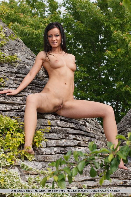 Beautiful brunette Melisa A outdoors flaunting perfect tits & round booty