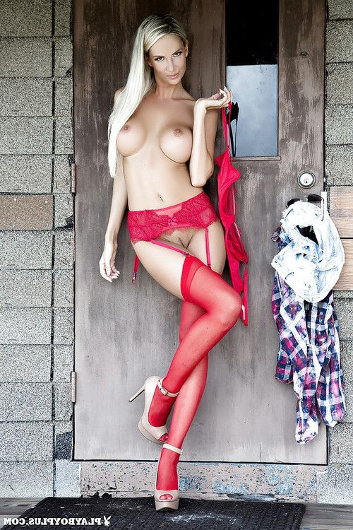 Blonde centerfold illustration Andi jay lets her huge juggs loose outdoors