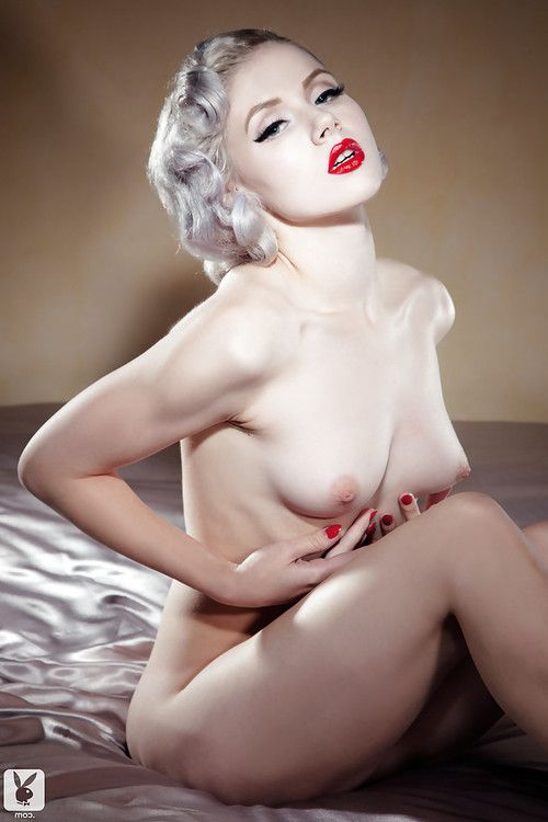 Platinum blonde with red lips gets rid of her vintage undies and stockings
