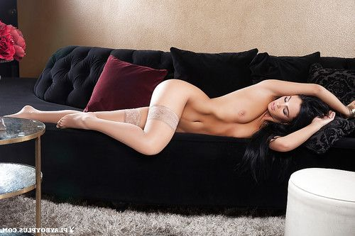 Dark haired cutie Kristie Taylor modeling tan stockings for centerfold unleash