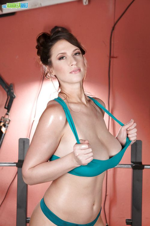Chesty centerfold example Lana Kendrick working out in belt underwear