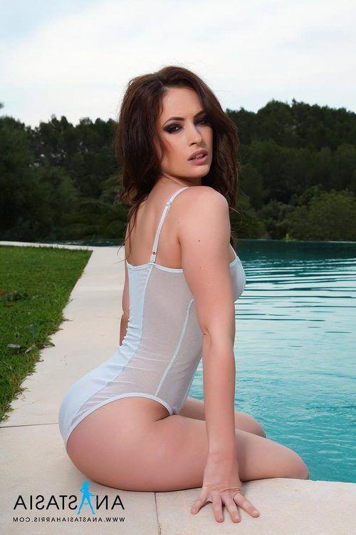 Grey Bodysuit By the Pool