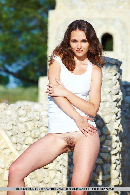 Glamour babe Zlatka A flashing hairy young pussy in public