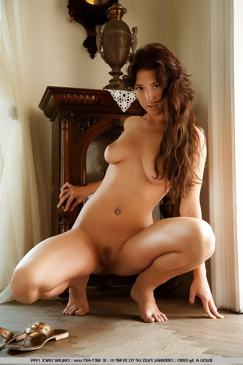 Brunette plays in grandma s residence naked although no one is around.