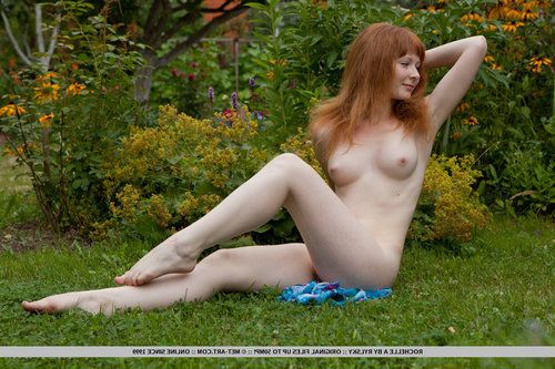 Lovely redhead babe Rochelle A shows off her furry ginger bawdy cleft